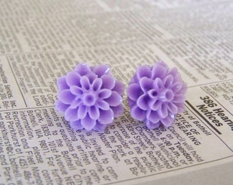 Posey Purple Dahlia Earrings
