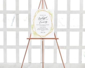 Unplugged Ceremony Sign, Unplugged Wedding, No cell phones Sign, Wedding Reception Ceremony, Geometric Gold Watercolor, Printable Sign #C124