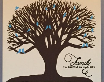 Family: roots of the tree of life painting with blue birds, Family Gallery Wall Art, Tree of Life Wall Art, Family Tree Painting, Wedding