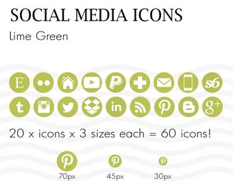 Social Media Icons 60 Lime Green - Instant Download