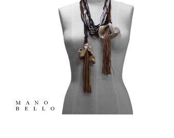 Mano Bello Leather Lily necklae, Non Metal Necklace, Statement Necklace, Leather Flower, Calla Lily, Leather Fringe, Brown, Metallic Gold
