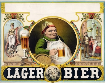 Lager Bier Beer Poster Vintage Printable Digital Download