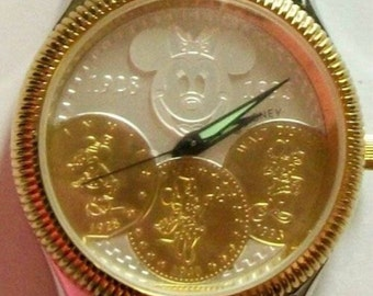 Disney Anniversary Minnie Mouse Watch! Coin Dial! Retired! HTF!