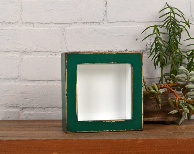 """Small Shadow Box Frame - Holds up to 4.5 x 4.5 x 1.25"""" Deep - Vintage Peacock Green Finish - IN STOCK - Same Day Shipping 4x4 Display Box"""
