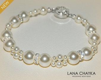 Bridal Ivory Pearl Bracelet Swarovski Ivory Pearl Silver Bracelet Wedding Pearl Bracelet Ivory Pearl Jewelry Bridesmaid Jewelry Prom Jewelry