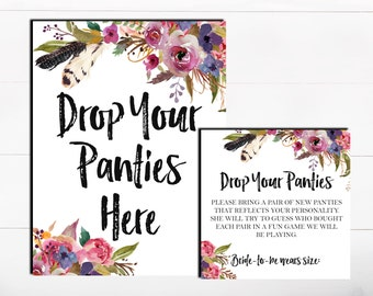 Drop Your Panties Here The Panty Game Lingerie Bachelorette Game Floral Purple Boho Panty Guess Game Lingerie Guess Game Printable Game