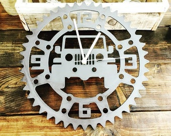 Rustic Metal Jeep Garage Clock- Perfect for the Garage, Office or Man cave!
