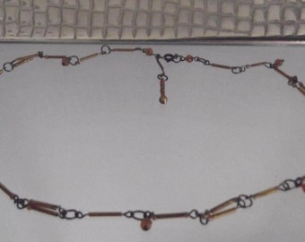 Brass Gold Tube Bead Necklace