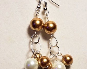Golden Brown and White Glass Pearl Earrings
