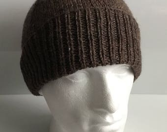 Men's Brown Aran 20% Wool Beanie Hat  - Hand Knitted in Scotland