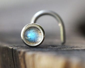 3mm Labradorite Nose Stud | Gemstone Nose Screw | Custom Nose Ring | Nose Piercing | Unique Nose Jewelry | Silver Nose Ring