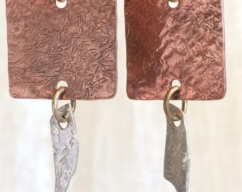 Bold Light Weight Mixed Metal Earrings of Copper & Silver
