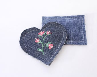 Embroidered Lavender Sachets Set of Two Upcycled Denim, Sprig on Blue 1