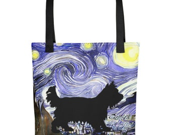 Van Gogh Starry Night Painting Tote Bag With Yorkie Yorkshire Terrier Dog