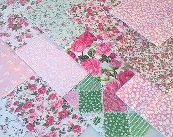 "30 x Baby Girl Pink 5"" Fabric Patchwork Squares Pieces Charm Pack"