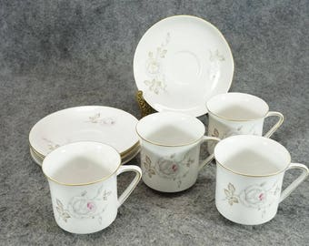 Johann Haviland Dawn Rose Pattern Cups & Saucers Set Of 4 C. 1960s