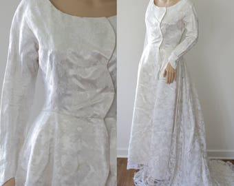 SALE - Graceful 60s Handmade Satin & Lace Overlay Bridal Gown