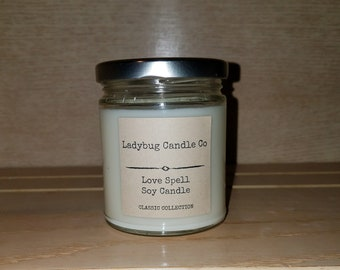 Summer Candle, Summer Scented Candle, Soy Candle, Love Spell Soy Candle, Jar Soy Candle, 8 oz