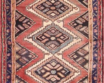Geometric Hamedan Hand Knotted Vintage Persian Rug Runner 7 ft Long For Hallways (7' 4'' x 3' 2'')