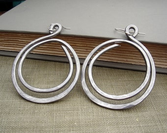 Very Big Hoop Earrings, Double Hoop Light Weight Aluminum Jewelry, Wife, Teen Hammered Hoops Handmade Big Earrings, Women Gift for Her