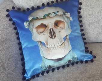 Flower Skull Print Cushion/Cushion Cover on 100% Cotton Shimmer Velvet. 45cm x 45cm. Printed from original artwork.