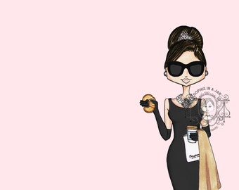 Audrey Hepburn Fashion Illustration Print