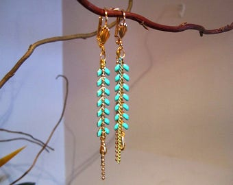 """""""COB"""" turquoise enamel earrings, drop gold plated suspended"""