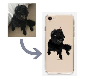 Custom illustration Dog Pet Drawing Portrait Phone Case iPhone 6 7 8 Plus X Samsung S5 S6 S7 Edge S8 S9 Plus Personalised dog gift