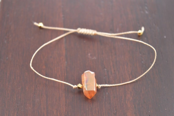 Tangerine Aura Quartz Crystal Point Bracelet