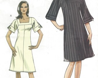Womens Lined A Line Dress Square Neckline Sleeve Variations OOP Vogue Sewing Pattern V8442 Size 6 8 10 12 Bust 30 1/2 to 34 UnCut Very Easy