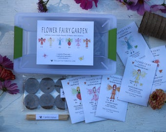 Fairy Garden kit with flower seeds, diy kit for kids, fairy house,fairy garden accessories fairy birthday party kids seed kit, birthday gift