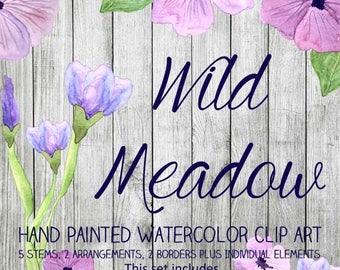 Instant Download - Hand Painted Watercolor Pink Purple Flowers Floral Arrangements Borders Clip Art Set - Item# 108 Wild Meadow