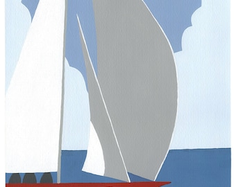 Red Sailboat - yacht on a blue day
