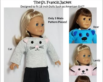 Pixie Faire Frog Princess Fashions St Francis Jacket Doll Clothes Sewing Pattern for 18 Inch Dolls Such As American Girl - PDF