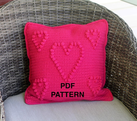 Crochet Hearts Pillow Pattern - Crochet Pillow - Crochet Pillow Pattern