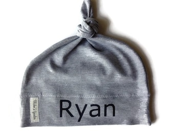 Personalized baby hat/ knotted baby name hat/ name hat /gray hat