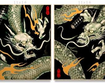 Samurai Dragons Asian Art Prints