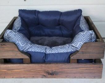 LARGE Rustic cedar dog bed wooden pet crate bed frame