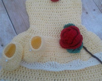 Princess Belle inspired baby crochet dress with shoes  and rose photography props