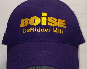 Vintage Baseball Cap Purple Yellow Embroidered Boise DeRidder Mill Hat T89 N7166