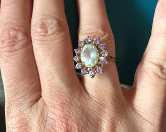 Aquamarine Tanzanite Ring - 10k Gold - Vintage