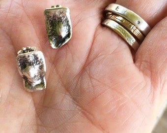 Silver posts, silver studs, small silver posts , Maggie's Meltdown, maggiesmeltdown, reticulated posts, posts, studs,