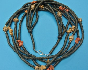 Beautiful handcrafted vintage 1970s natural organic apple blossom coral/ coconut wood/ betelnut bead 4-stranded necklace