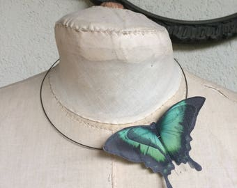 Flying - Handmade Swallowtail Butterfly Necklace Choker in Cotton and Silk Organza