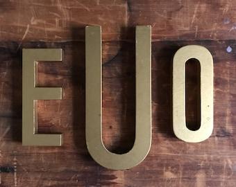 Antique Gold Shop Sign Letters Monogram E U O
