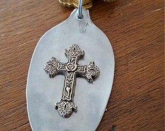 Flattened spoon key ring....Christian....ornate cross