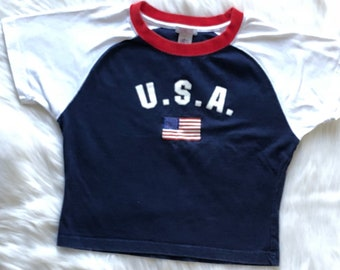 90s Vintage USA Crop Top T Shirt Short Sleeve Red, White, Blue