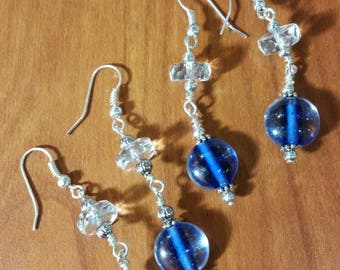 Blue and crystal drop earrings.