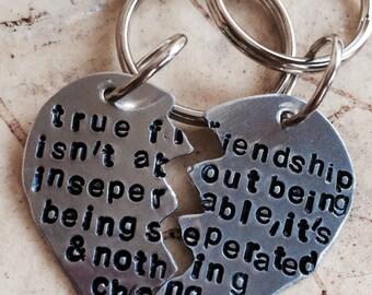 Split heart keychain or necklace, best friends