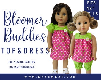 18 inch Doll Clothes Sewing Pattern Bloomer Buddies Yoke Top or Yoked Dress Easy to Sew doll clothes by OhSewKat fits American Girl dolls